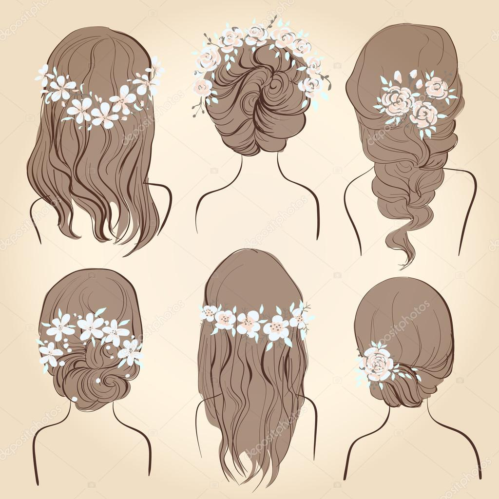set of different vintage style hairstyles, wedding hairstyles, hair ...