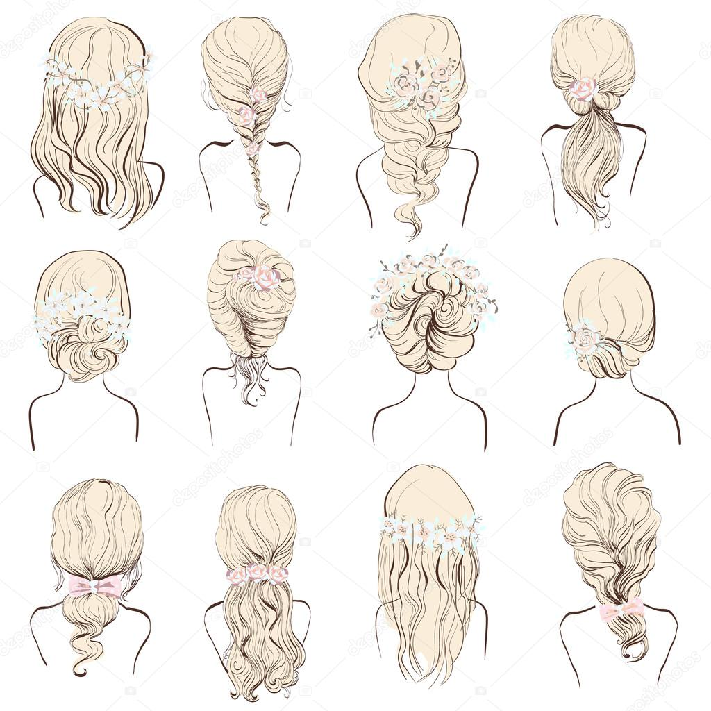 set of different hairstyles, wedding hairstyles,isolated on a white ...