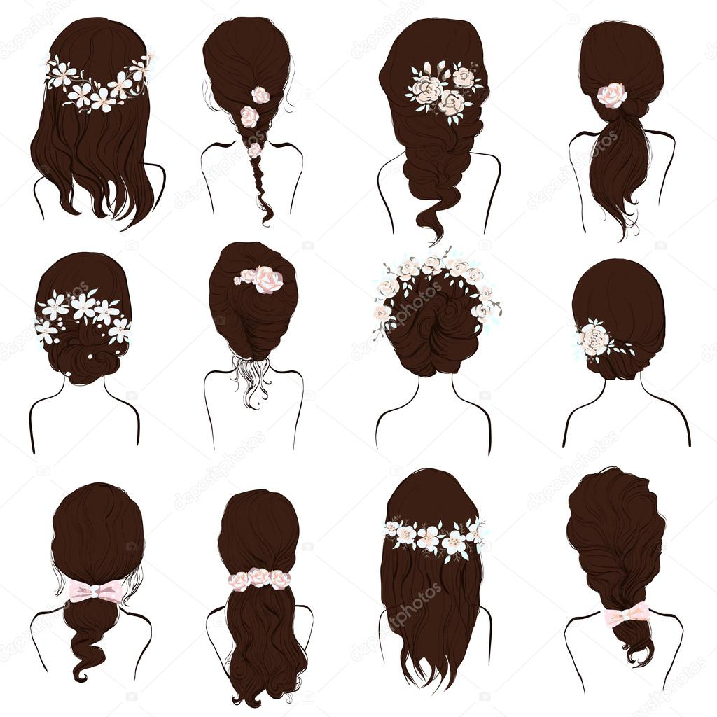 set of different hairstyles, wedding hairstyles, hair styles with ...