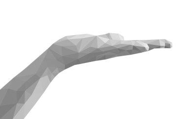 polygonal open hand palm empty monochrome