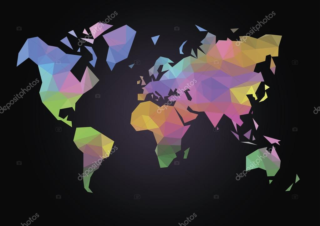 Polygon map of the world in color stock vector goodwinx 68623785 colored map of the world made in the style of drawing a polygon vector by goodwinx gumiabroncs Gallery
