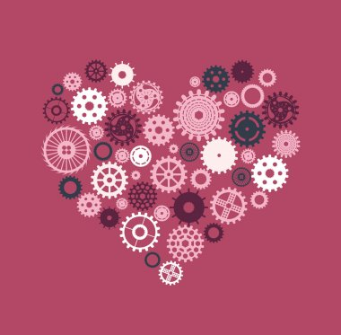 Heart consisting of gears in motion on a pink background