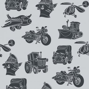 motor vehicle car plane ship helicopter seamless pattern black