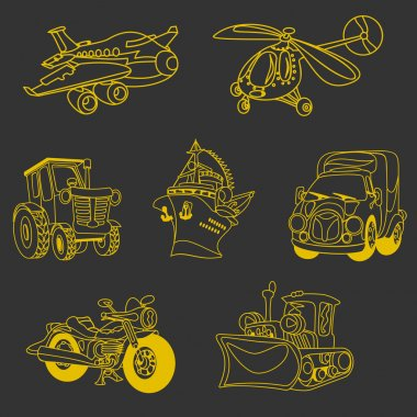 outline motor vehicle car plane ship helicopter yellow on a blac