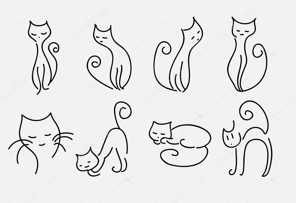 conjunto de dibujos animados vector de gatos líneas curvas — Vector ...