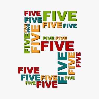 5 five digit number consisting of words of different sizes of mu