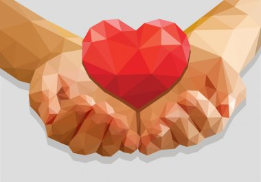 cupped hands keep red heart isolated low-poly polygon on a gray