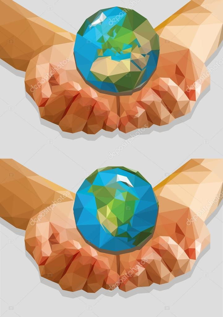 cupped hands keep a globe isolated ecology polygonal low-poly