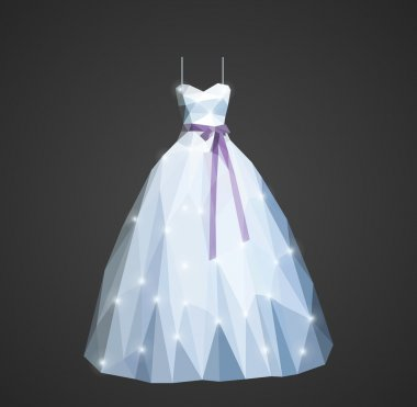 polygonal wedding dress with shining sequins and purple belt