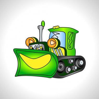 children illustration technique green bulldozer