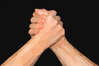 polygonal hand handshake friendly arm wrestling fist up on black