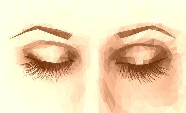 polygonal female eyes closed with long eyelashes sepia