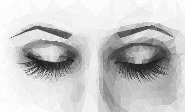 polygonal female eyes closed with long eyelashes monochrome