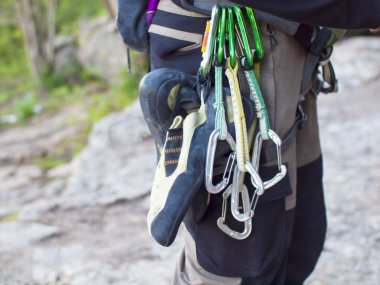 Gear for climbing in the mountains.