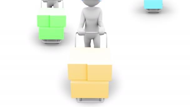 A szállít. 3D-s karakter egy kéz teherautó. Emberek sorozat. Az alfa-Matt.