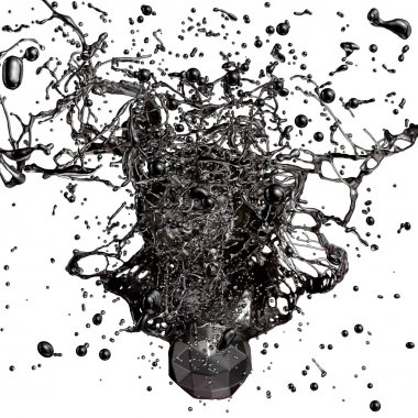 Splash of black fuel oil isolated on white background