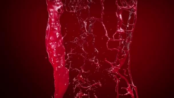Ketchup, vér, vörös folyadék Splashing. Lassú mozgás.