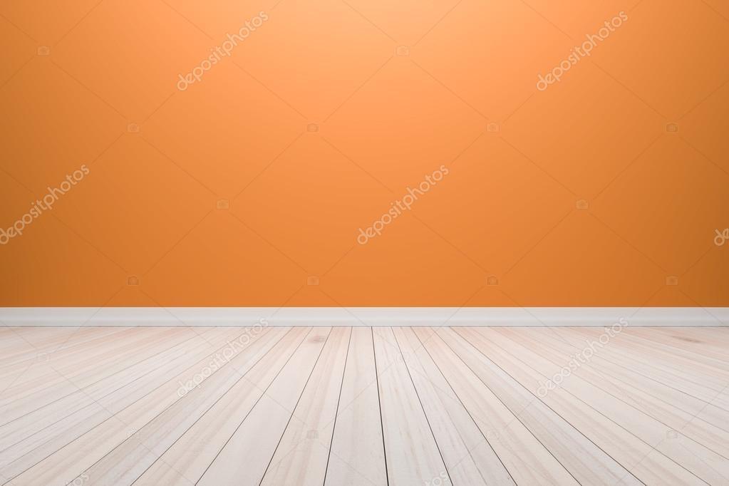 Leeg interieur licht oranje kamer met houten vloer voor weergave
