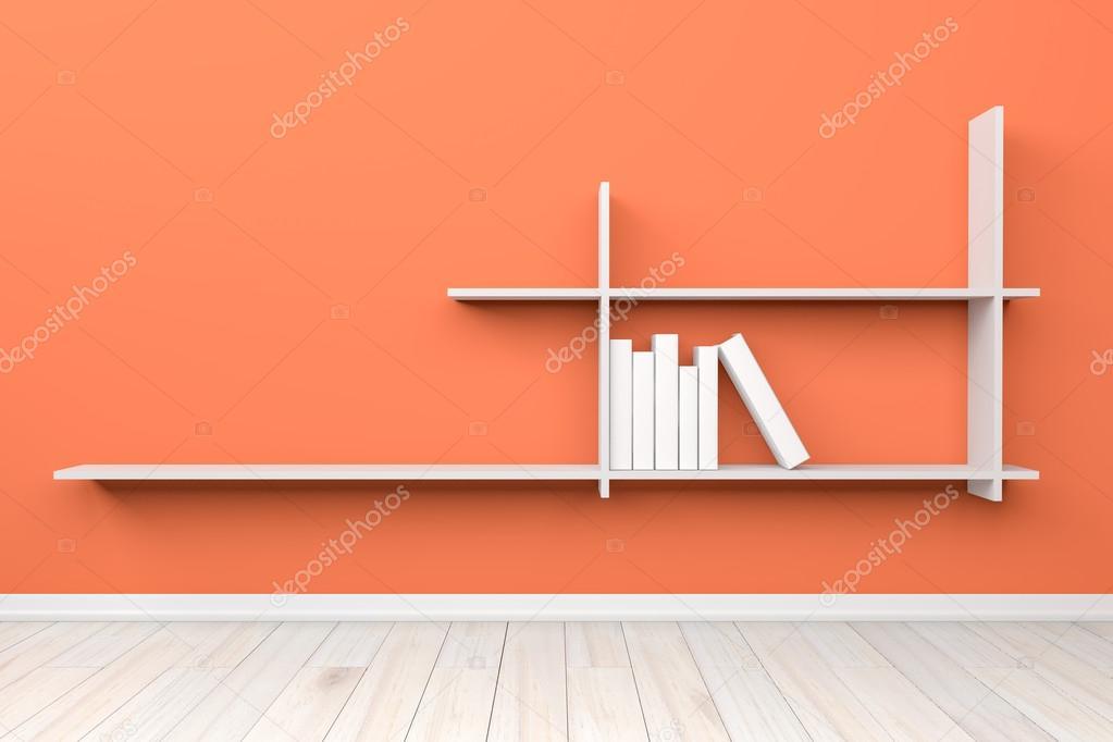 leeg interieur licht oranje kamer wit wit plat en houten fl stockfoto