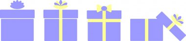 Vector graphic set of gift boxes with different decorations of ribbons andbow-knots, light blue and yellow colors. Design for online shop, banner, promotion, coupon icon