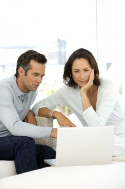 Middle-aged couple using pc at home