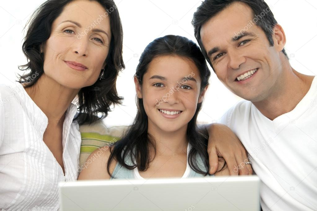 Family with one kid using laptop