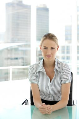 Young blond hair businesswoman