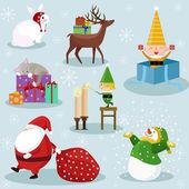 Vánoční a novoroční dovolená ikony