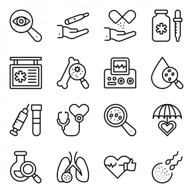 Pack of Medical and Online Consultation Linear Icons icon