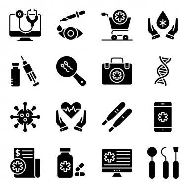 Pack of Medical and Pharmacy Solid Icons icon