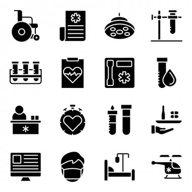 Pack of Medical and Commerce Solid Icons icon