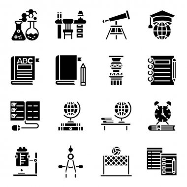 Pack of Learning Solid Icons icon
