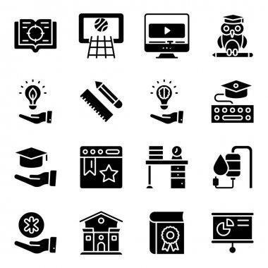 Pack of Modern Learning Solid Icons icon