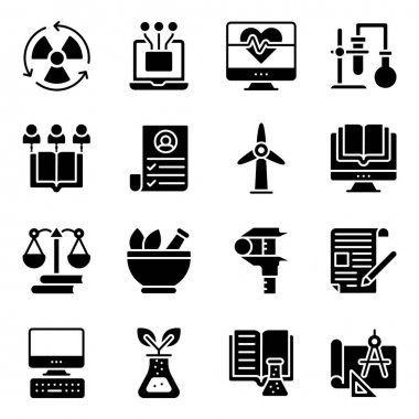 Pack of Education and Learning Solid Icons icon