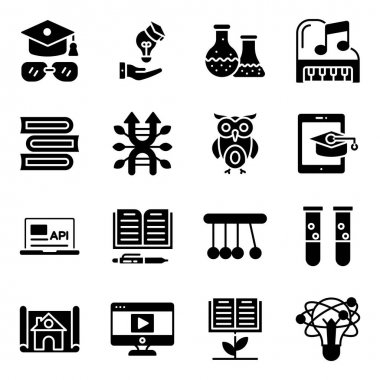 Pack of Education and Knowledge Solid Icons icon