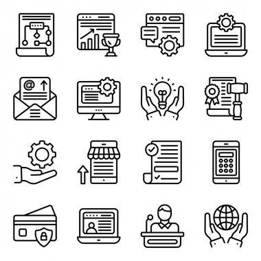 Online Business Linear Icons Pack icon