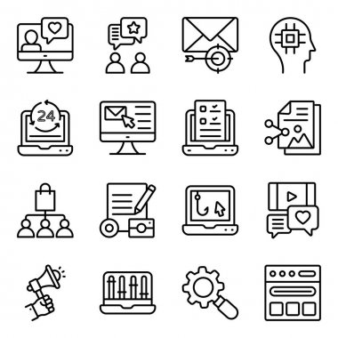 Seo and Media Linear Icons Pack icon