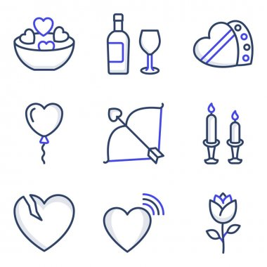 Pack of Valentine Celebration Colored Line Icons icon