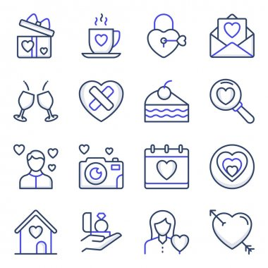 Pack of Valentines Colored Line Icons icon