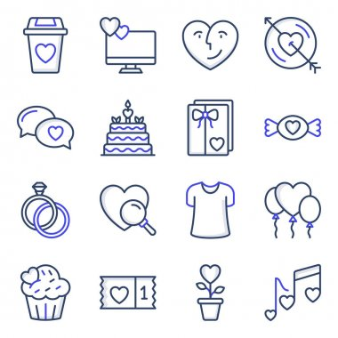 Pack of Love and Valentine Colored Line Icons icon