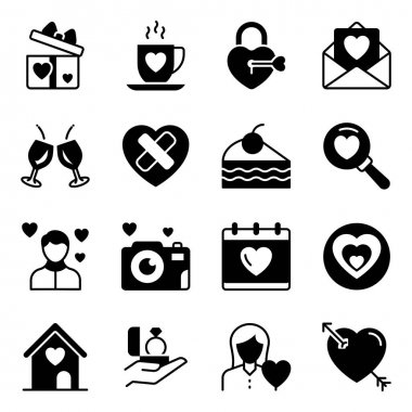 Pack of Valentines Solid Icons icon