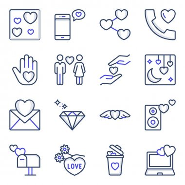 Pack of Valentine Day Colored Line Icons icon