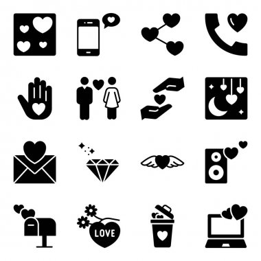 Pack of Valentine Day Solid Icons icon
