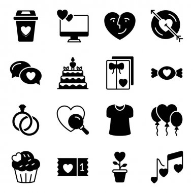Pack of Love and Valentine Solid Icons icon