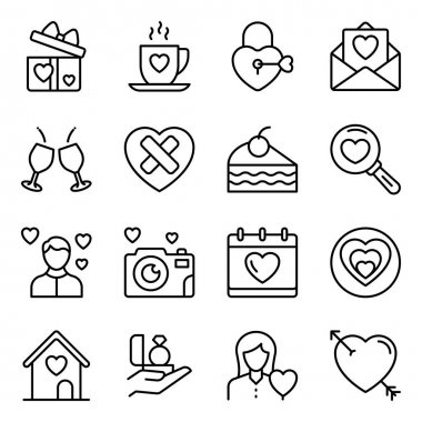 Pack of Valentines Line Icons icon
