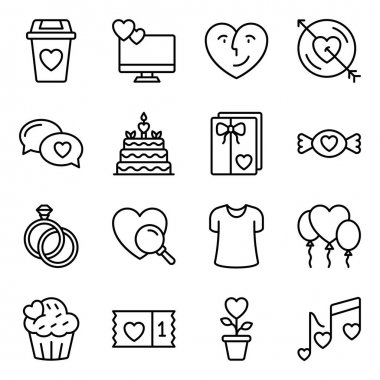 Pack of Love and Valentine Line Icons icon