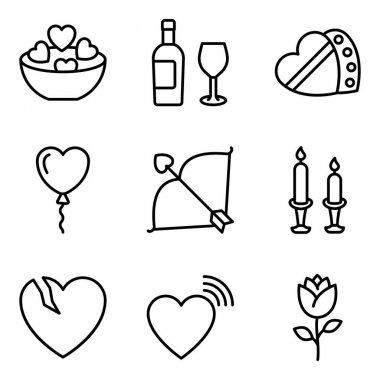 Pack of Valentine Celebration Line Icons icon