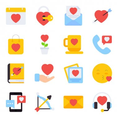 Pack of Valentine Flat Icons icon