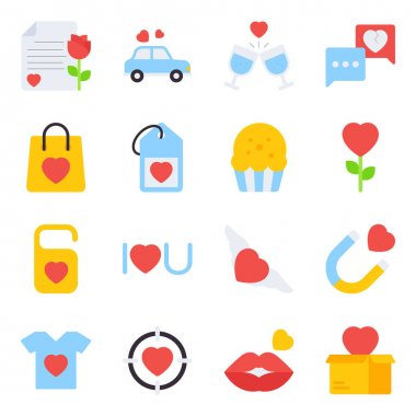 Pack of Valentine Day Flat Icons icon