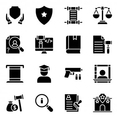 Pack of Law Solid Icons icon